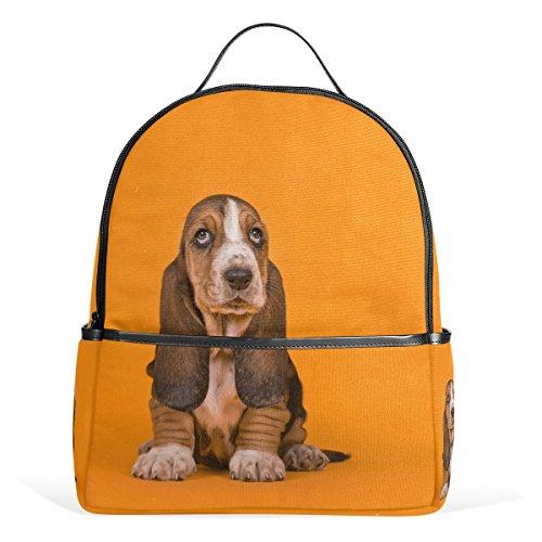 ALAZA Basset Hound Welpen-Hunderucksack für Schule Bookbag -