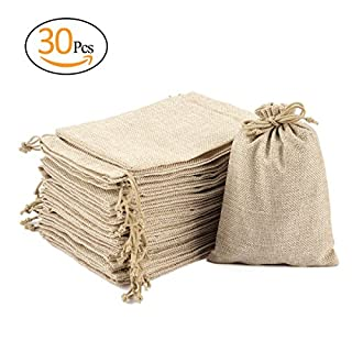 ANPHSIN 30 Packs Burlap Bag with Drawstring - 17.5 * 12 CM Gift Bag Jewelry Pouches Sacks for Wedding Favors, Party, DIY Craft and Christmas