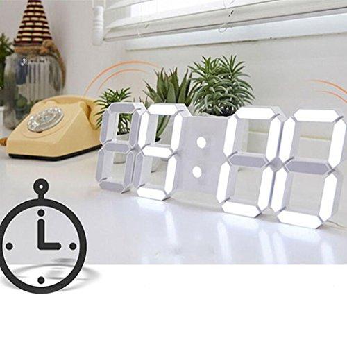 Livecity, orologio led, digitale, grandi dimensioni, da parete, multifunzione, telecomandato, white + white, large