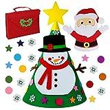 OurWarm Albero di Natale in Feltro Fai da Te, 3D Albero di Natale aggiornato del Bambino con Gli Ornamenti del Pupazzo di Neve per i Bambini Regali di Natale Decorazioni di Natale di Nuovo Anno