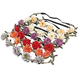 Frcolor - Diadema para mujer, diseño floral, diseño de margarita, corona de pelo, 5 unidades (colores variados)