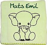 Wolimbo Flauschdecke Babydecke mit Namen ELEFANT hellgrün