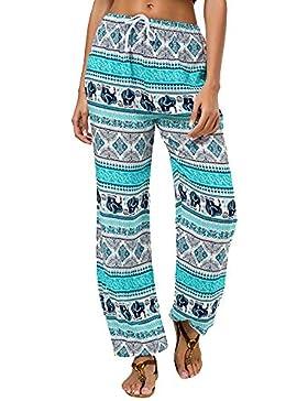❤️ Pantalones Anchos Pantalones Estampados Mujer,Pantalones con Estampado de pantalón de Tirantes y Pantalones...