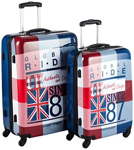 G.Ride Valise avec Roulettes Set de 2 70 L 60 cm/70 cm Multicolore (Blanc/Rouge/Bleu) GRI-PC-ENG60+70