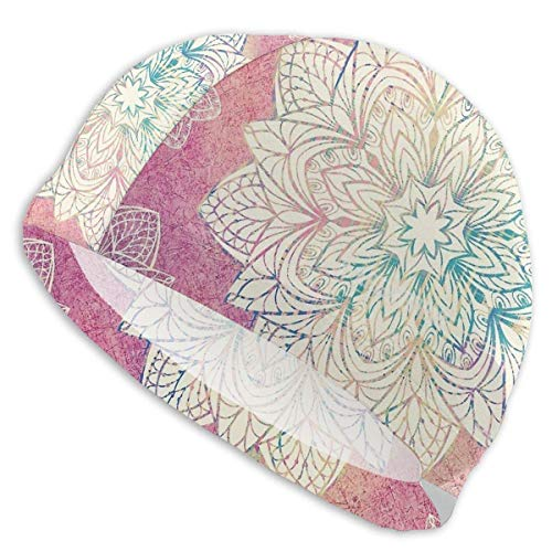 Gebrb Psychedelic Mandala Lycra Gorro de Natacion Comfortable Fit Gorro de Baño Bathing and Shower Hair Cover Ear Protection for Long Hair & Thick Hair & Curly Hair, Easy to Put On and Off