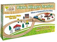 Idea Regalo - Teorema 40505 - Pista Allegro Trenino in Legno, 40 Pezzi