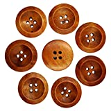 #9: Electomania® Wooden Round Buttons With 4 Holes (Coffee, 50-Pieces)
