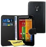 FoneExpert Motorola Moto G 2nd Gen - Etui Housse Coque en Cuir Portefeuille Wallet Case Cover pour Motorola Moto G (2ème génération) + Film de Protection d'Ecran (Noir)