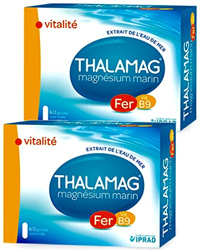 Thalamag fer b9 - Magnésium Marin + Fer + Vitamine B9 - Lot de 2 x 60 gélules