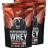 nu3 - Whey Protéines Performance | 2 x 1kg | Poudre Chocolat | Protéines destinées à la prise de masse musculaire | Excellente solubilité et délicieuse saveur chocolat | Haute teneur en protéines