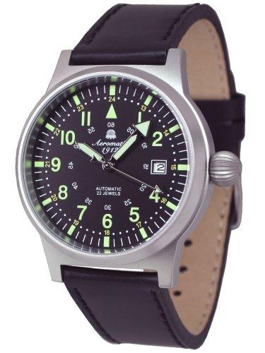 Aeromatic 1912 A1418 - Reloj , correa de cuero color negro
