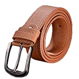 Deykhang Elastic Men's Faux Leather Wide Pin Buckle Waist Belt Solid Color Business Waistband braun