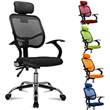 Homfa Sillas de ordenador sillas de escritorio baratas Giratorio Ajustable Fuertes Ruedas Tela de malla (Negro)