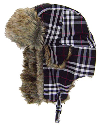 modestone-plaid-warm-trapper-bomber-hat-faux-fur-trim-o-s-black