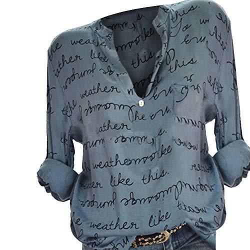 SANFASHION Damen Bluse Frauen Große Größen Outwear V-Ausschnitt Manschetten-Ärmel Locker Taste Langarm Brief Pullover Tops Shirt