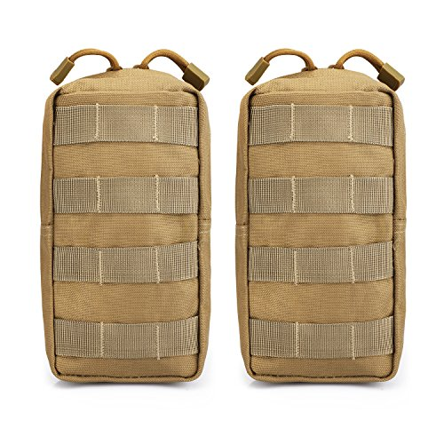 G4free - 2 Bolsas tácticas Molle Compact, Utilidad, EDC, riñonera pequeña para Pecho, Chaleco, Mochila táctica, Bronceado
