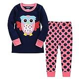 LitBud Niña pequeña Pijamas de Navidad Búho Sleepwears de Acción de Gracias 2 unids Manga Larga Tops + Pantalones Conjuntos para Niños Tamaño 3-4 Años 4T