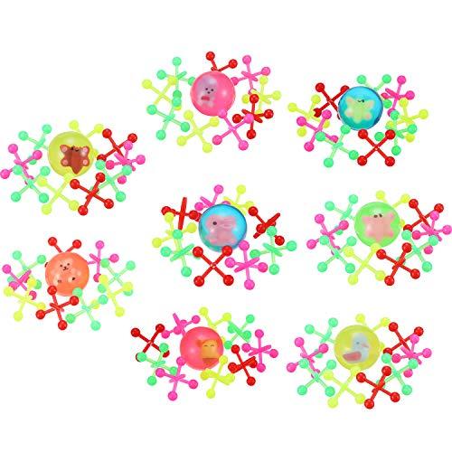 stoff Jacks Spiel, Retro Vintage Klassisch Spiel Jacks, Verschiedene Neon Farben, 1 Zoll für Spaß Party Bevorzugen Spielzeug Geschenke ()
