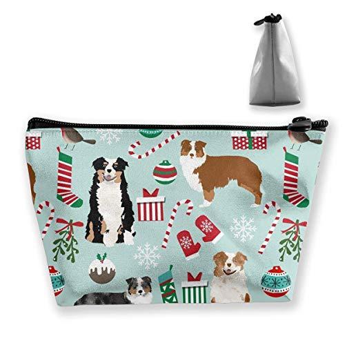 Aussie-hunde Reißverschluss (Australian Shepherd Christmas Cute Aussie Hunde Trapez Aufbewahrungstasche, Make-up Tasche Pouch Tasche Federmäppchen Mode Handtasche)
