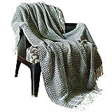 RAJRANG grau gewebt werfen Reine Baumwolle - Fringe Decke super weich und warm dekoratives Bett wirft 100% Baumwolle Decke Wohnzimmer wolldecke Baumwolle wirft süße 127 cm x 152 cm