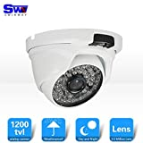 SW 1200TVL Smart Home Kamera Sicherheitssystem /HD Überwachungskamera Dome Outdoor (Leistungsstarke IR LEDs, Infrarot Nachtsicht, Weitwinkel, wetterfest Bewegungserkennung, 48 LEDs) weiss
