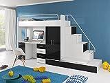 Furnistad | Hochbett für Kinder Sun | Kinderhochbett mit Treppe, Schreibtisch, Schrank und Gästebett (Option rechts, Weiß + Schwarz)