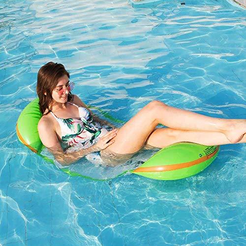 Janteel letto galleggiante gonfiabile, aggiornato estate aria divano divano amaca acqua sdraio zattere stuoie, piscina per adulti spiaggia rilassante piscina per prendere il sole partito (kiwi)