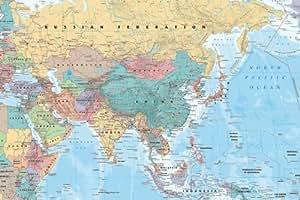 Carte Asie et Moyen Orient Poster 61 x 91.5 cm Plastifié