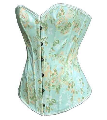 Wkd Blau Kostüm (Dissa® W1396 Damen Korsett Mieder Corsage Grün)