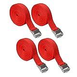 Cinghie di ancoraggio SUNSHINETEK Cinghie con cricchetto regolabile Cinghie di trazione per carichi pesanti con camma a sgancio rapido per cinghia da viaggio (rosso, 4 pezzi, 5 m * 25 mm)
