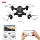 FPVRC SYMA X22W Mini Drone con WIFI FPV Telecamera 0.3 MP, 2.4GHz 4CH 6 Axis Gyro RC Quadricottero Videocamera, Telecomando & Controllo APP, È Possibile Preimpostare il Percorso di Volo - RTF(Nero)