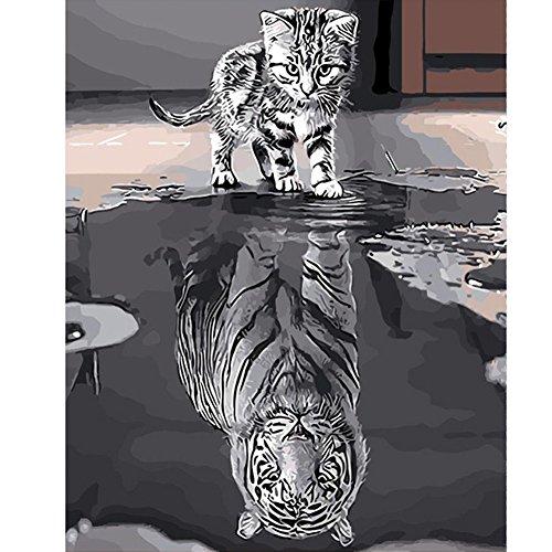Nouveau peinture à l'huile Diy, Chat ou tigre peinture par numéro Kit pour adultes adolescents débutant, Etopfashion dessin avec des pinceaux peinture, 40 * 50 CM