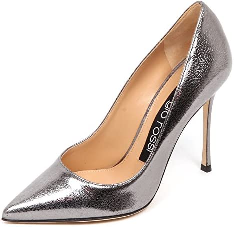 E4742 Decollete Donna Grey lamé Sergio Rossi Scarpe Cracked Effect Shoe Woman
