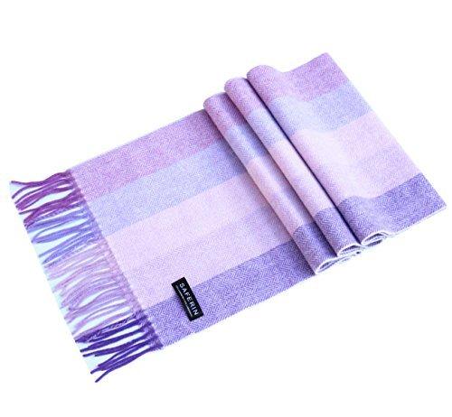 Saferin Women Men Cashmere and Wool Plaid Warm Soft Scarf with Gift Box (HYX-Purple Stripe)