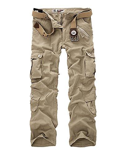 Combat Pantalon pour Homme/Garçon Militaire Cargo Armée Pantalon de Travail Loisir Sport Multi Poches Pants Kaki