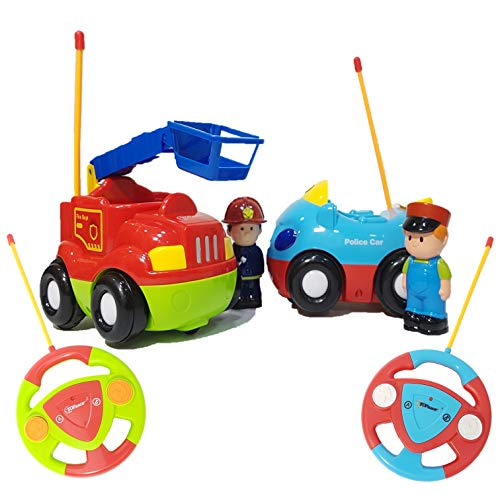 Top Race RC Cartoon Cars Toy, My First Remote Control Set of 2 Fire Engine & Police Car Toys, Musical Song & Light with 2 Transmitters; Different frequencies- Play Them Together, Children Age 2+