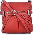 MASQUENADA, Cntmp, Leder Handtaschen, Damen Umhängetaschen, Crossover-Bags, Crossbags, Schultertaschen, Rot, 24x25x6cm (B x H x T)