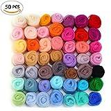 WOWOSS Fieltro lana hilo de fibra de lana Roving 50 colores de lana suaveLana Suave para Manualidad...