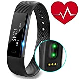 REDGO Fitness Tracker, Heart Rate Monitor Tracker Smart Bracelet Activity Tracker Bluetooth Pedometer with Sleep Monitor Smartwatch for iPhone 7 7 Plus 6 Samsung S8 Android or iOS Smartphon, Black