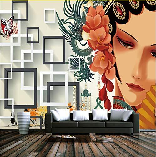 Kyzaa Benutzerdefinierte Chinesische Wandmalereien Chinesischen Stil Peking-Oper 3D Tapeten Wandbilder Verdicken 3D Tapeten Für Wohnzimmer Tv Hintergrund