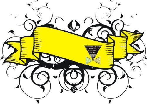 T-Shirt E483 Schönes T-Shirt mit farbigem Brustaufdruck - Logo / Grafik - abstraktes Design - großer Banner mit Ranken als Verzierung Schwarz