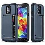 Cadorabo Samsung Galaxy S5 / S5 Neo Custodia Silicone TPU e Hard Case Guardian Carte in Blu Scuro Armatura Hybrid Cover Protettiva con Bordo Protezione Back Case Ultra Slim Gel Plastica Bumper Fina