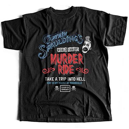 Flamentina 9341 Captain Spaulding Herren T-Shirt Ride Murder House Hell Devil Thousand Reject Satan Skull Corpse Amusement Park(Medium,Black)