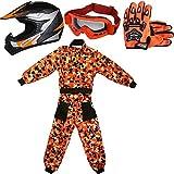 Leopard LEO-X19 Casco da Motocross per Bambini off-Road + Occhiali + Guanti + Tuta da Motocross per Bambini, Completo da Uomo XXL (12-13 Anni), Arancia - Casco&Guanti S