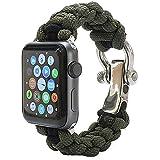 PSKOOK Apple Armbanduhr Paracord Band 42mm für Series 1 2 3 und Edition Elastic Ersatzarmband mit Edelstahl-Verschluss┃Einfach zu Tragen (Armee Grün L)