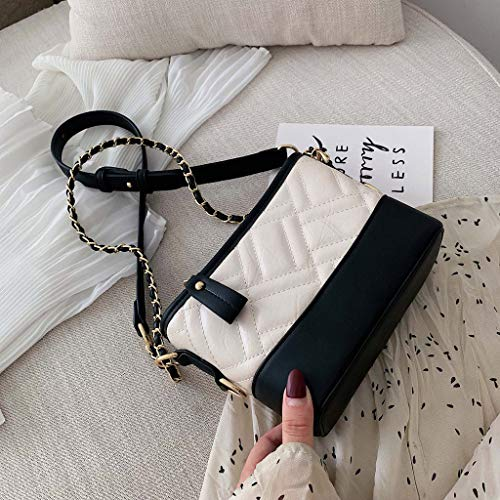 Wawer Reisetasche, Damenmode, Die Eine Schulter Retro Messenger Bag Schnalle kleine quadratische Tasche näht Damenmode Niet Patchwork Farbe Abdeckung Retro-Umhängetasche Flap Bag -