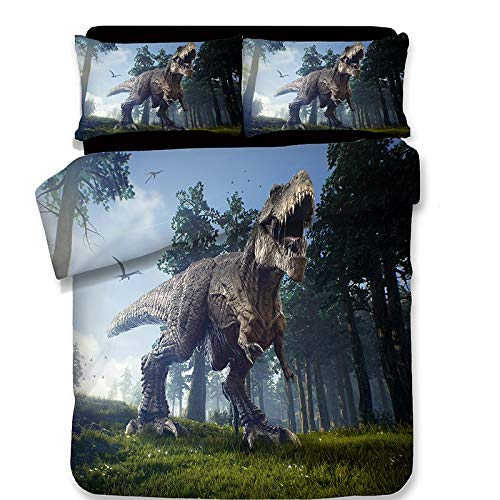 Q-DDOIT@ 3pcs 3D Dinosaurier Bettwäsche Set Für Teen Boys Und Girls Jurassic World Lake Print Bettbezug + 2 Kissenbezüge, No Tröster, No Sheet,A,Full -