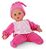 Götz 1420504 Muffin Mädchen - 33 cm große Weichkörperpuppe mit blauen Schlafaugen und ohne Haare - Babypuppe mit Strampler und Schnuller - geeignet für Kinder ab 18 Monaten