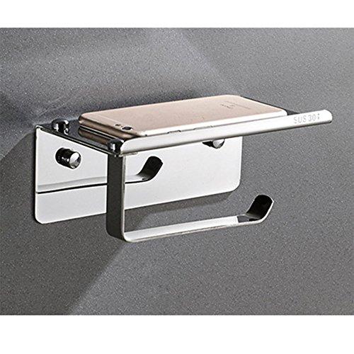 Rostfreier Stahl Toilettenpapierhalter Quadratische Badezimmer Papierrolle Kleiderbügel Klopapierhalter Mit Handyablage (A)