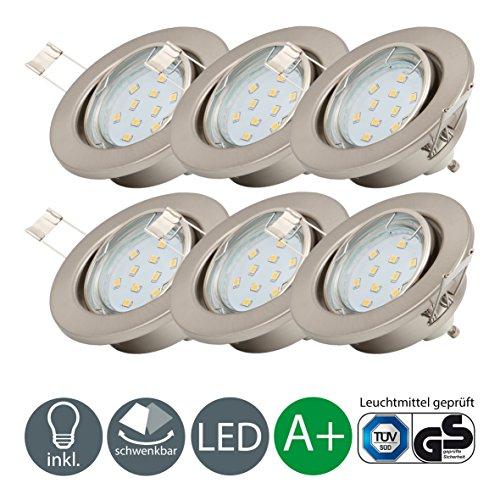 Newsbenessere.com 518MYi8hKXL Faretti LED compatti | Lampadine LED 3W | Illuminazione a incasso | Set di 6 luci rotative 250 lm | Plafoniera montaggio GU10 | lampadina INCLUSA A+
